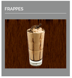 Our delectable frappe of many flavours whether coffee or chocolate based- the ideal brain freeze drinks for summer or for the adventurous in winter