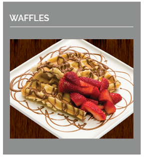 Freshly made waffles drizzled with molten Belgian Coverture Chocolate
